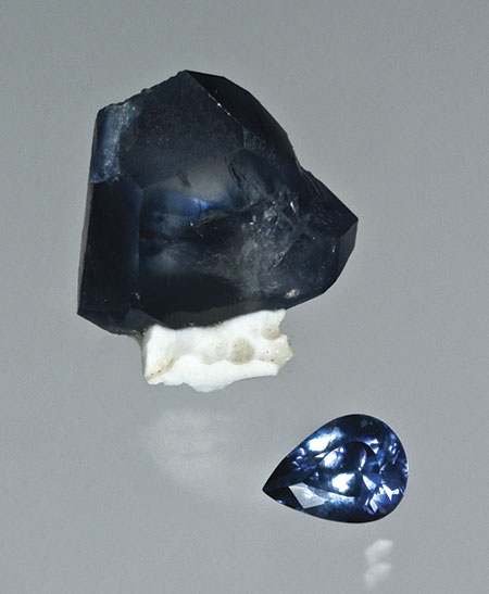 Benitoite Rough and Cut photo image