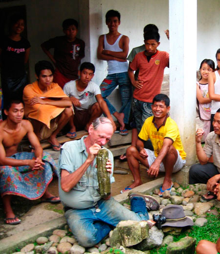 Walt Wriight with Javanese Onlookers photo image